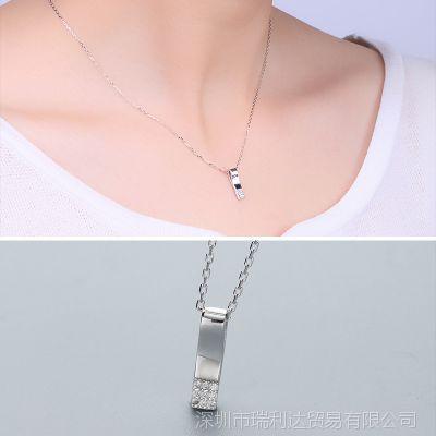 厂家直销S925银项链女 韩版时尚可爱口哨镶嵌套链 饰品一件代发