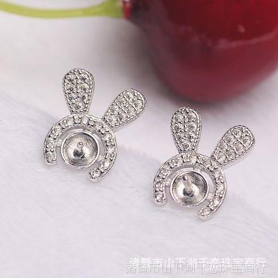 DIY耳饰 S925纯银珍珠耳钉配件批发 兔子耳环空托 珍珠饰品配件