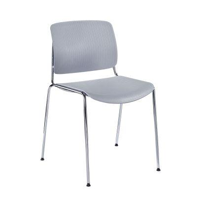 时尚简约大型会场合会议椅白色塑钢车行洽谈椅可堆叠培训椅办公椅