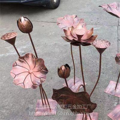 厂家定制不锈钢荷花雕塑 不锈钢植物造型雕塑摆件 公园景观