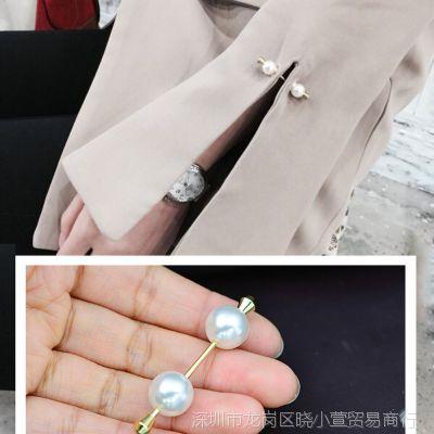 一字螺旋珍珠胸针女衬衫袖扣韩国开衫胸花简约小别针装饰外套配饰