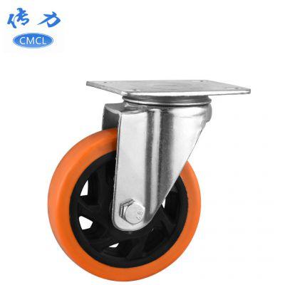 4寸中型通花脚轮 橙色pvc平板活脚轮 烧烤炉轮子