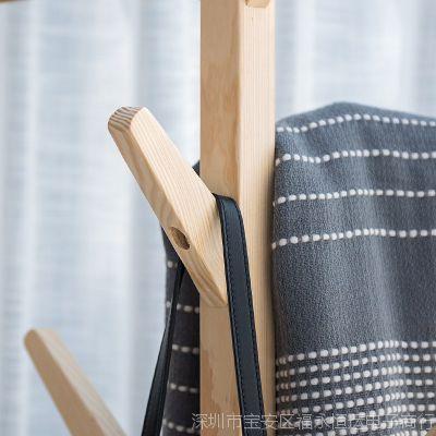 白色男女收纳架木头置物架立式木质简易实木质衣帽架挂衣架简约多