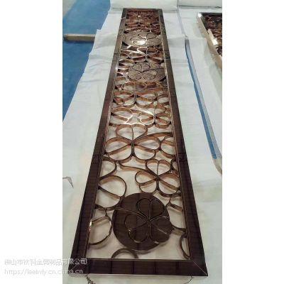青古铜铝板雕刻花纹镂空隔断金属屏风