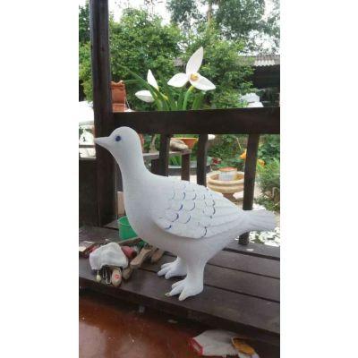 佛山玻璃钢仿真动物鸽子雕塑造型 小区公园景观雕塑摆件