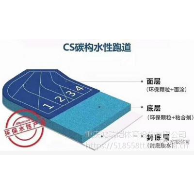 """重庆新国标塑胶跑道,广州""""杰瑞""""牌CS碳构水性环保跑道,13mm厚"""