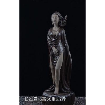 崖柏雕刻摆件美女木雕,工艺品摆件木雕