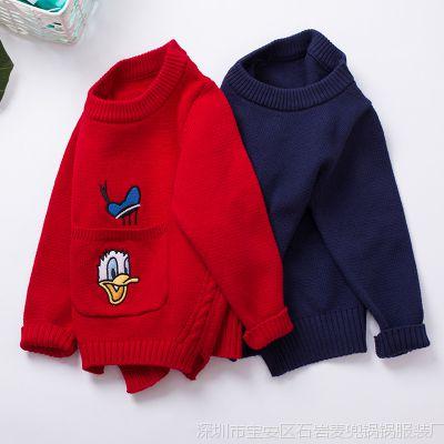 1300H 新款儿童可爱图案口袋绣花圆领套头打底纯棉针织简约毛衣