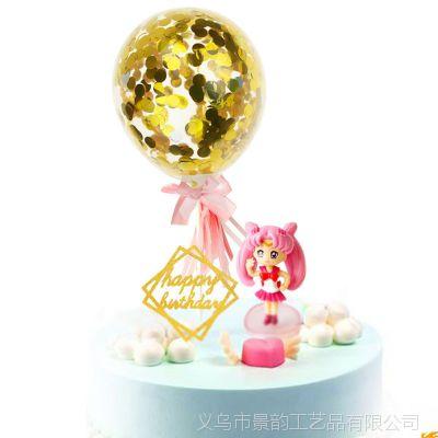 亚马逊 热卖5寸装饰烘焙透明金色纸屑亮片蛋糕气球节日纸亮片气球