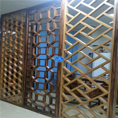 供应梅州茶庄中式古典铝管窗花屏风 四方管焊接3D4D仿木纹铝窗花