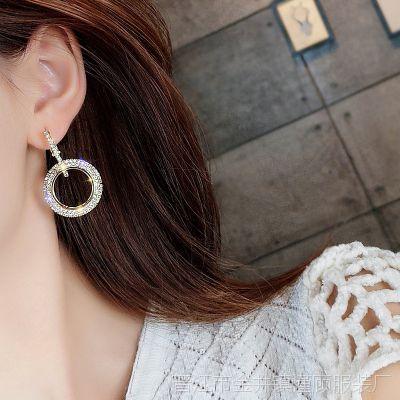 好看清新水钻耳饰耳环女园圆圈简约时尚耳夹式水晶优雅包邮新款