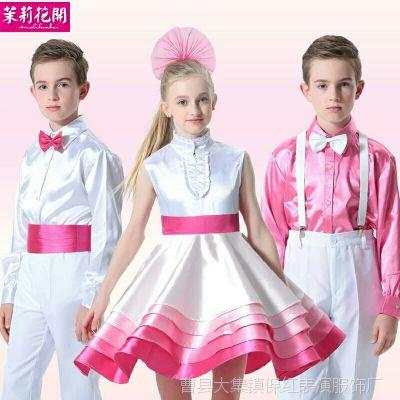 新款儿童合唱服六一少儿演出中学生小学生表演服装粉H