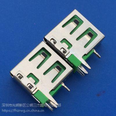 USB2.0 测插90度插板DIP 三角插板前脚O型 彩色胶芯 - 创粤