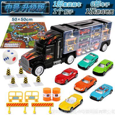 一件代发儿童大货柜车玩具运输车合金车模合金玩具车收纳箱4-6岁