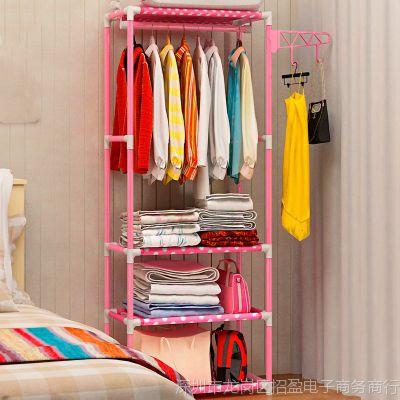 墙上床头宿舍组装挂美式挂件简易架衣柜衣帽架衣床边小卧室中岛