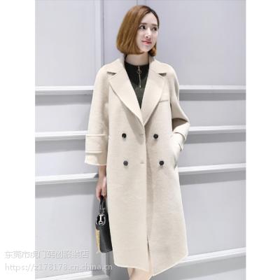 广州韩版女士长款外套时尚女士羊毛中长款外套呢子大衣便宜毛呢大衣清