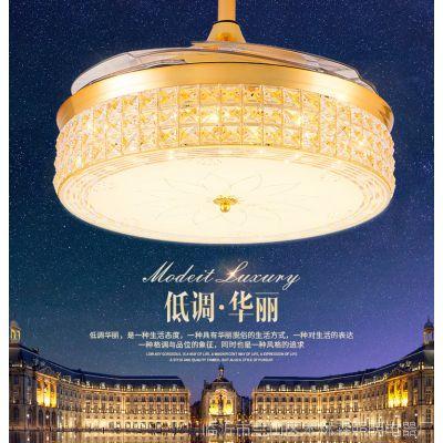 桥田餐厅隐形吊扇灯金色简约简约客厅风扇灯卧室带LED的风扇吊灯