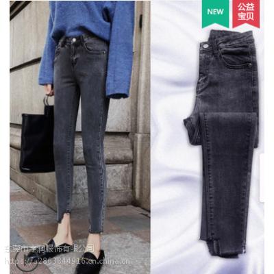 5块钱的库存尾货批发女装牛仔裤便宜高腰弹力小脚裤九分裤清货杂款牛仔裤