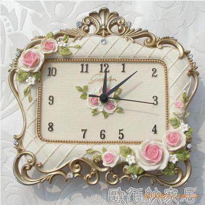 时尚创意韩版玫瑰欧式田园座钟 喜庆节日礼品 树脂工艺品钟表批发