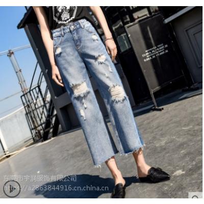 牛仔工厂倒闭清货韩版爆款牛仔裤九分裤清货5元以下清货便宜牛仔裤