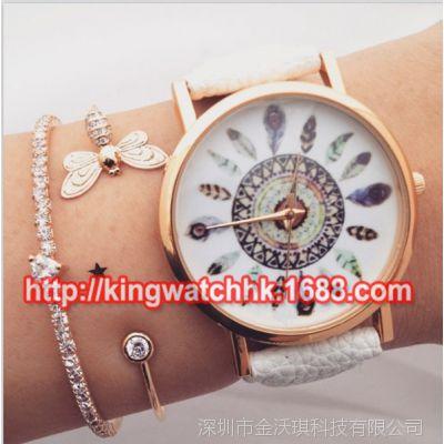 特价清仓 孔雀羽毛手表 geneva 手表 时尚热卖荔枝纹表带