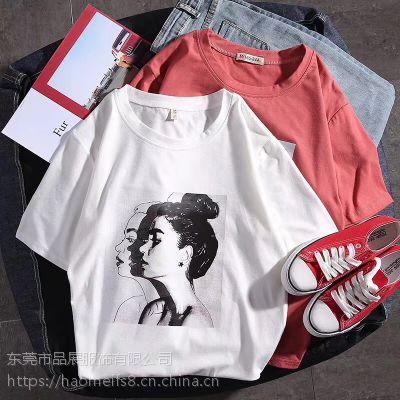夏韩版个性短袖T恤简约女士上衣服外贸批发地摊货源便宜女式新款打底小衫学生班服女