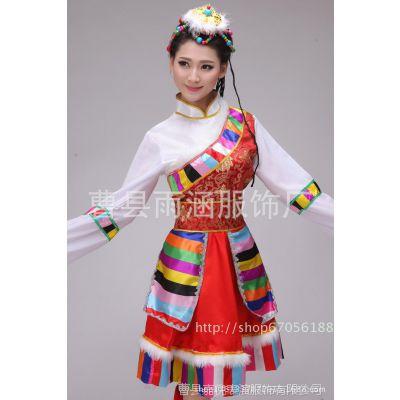 新款藏族舞蹈服饰秧歌民族服装 女演出藏族水袖表演服舞台装