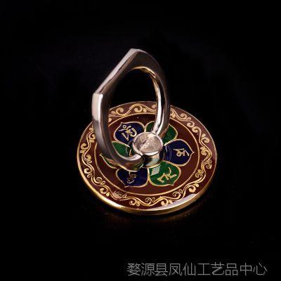 佛器西藏佛教 纯铜便携式十相自在六字真言指环支架 平板手机支架