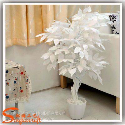 成都仿真小榕树叶 室内人造白色榕树盆景 假榕树厂家