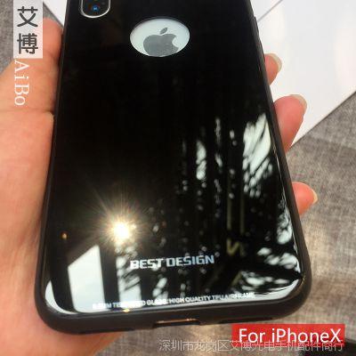 iphoneX钢化玻璃后盖手机壳新款创意苹果X琉璃保护套镜面加工定制