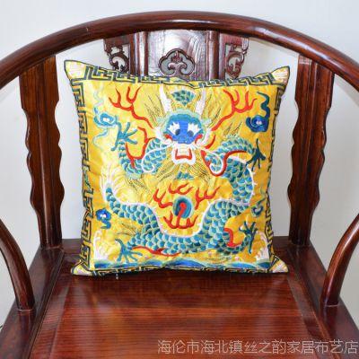 龙仙鹤麒麟补子工艺品外事礼品特价电脑机绣刺绣靠垫套