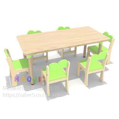 陕西厂家批发幼儿园实木学习桌椅