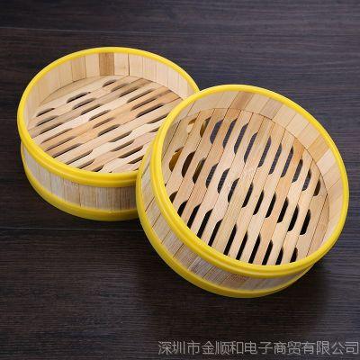 JSH胶边商用点心蒸笼蒸屉竹制小笼包 塑料包边蒸格广式早茶餐厅蒸