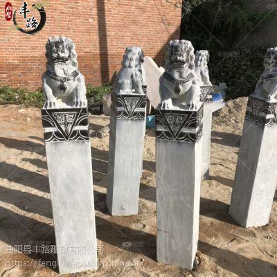 石雕拴马桩 丰路石雕 青石做旧拴马石柱