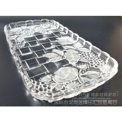 新磨砂透明水晶玻璃果盘长方形水果盘拖盘茶盘壶水杯托盘平新