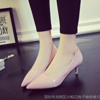 高跟鞋包邮女细跟三公分低跟女单鞋夏季浅口韩版百搭职业女鞋尖头