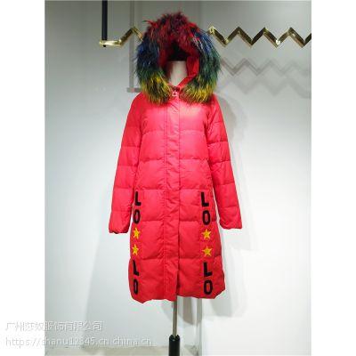 芭贝秀18年冬装羽绒服中长款品牌折扣货源专柜尾货正品