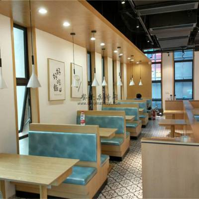 自贡市卡座沙发定做,小龙虾美食馆卡座桌子案例