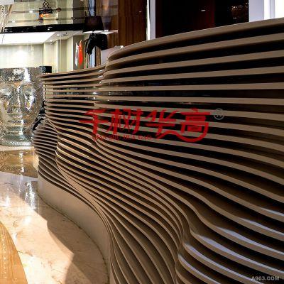 背景墙波浪铝方通酒店餐厅室内隔断装饰热转印木纹铝合金装饰材料