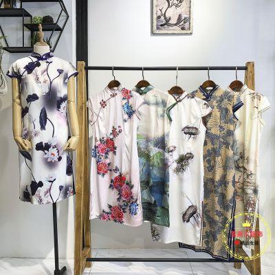 杭州品牌女装设计娣婷中国风牡丹花长款旗袍尾货渠道新款组货包
