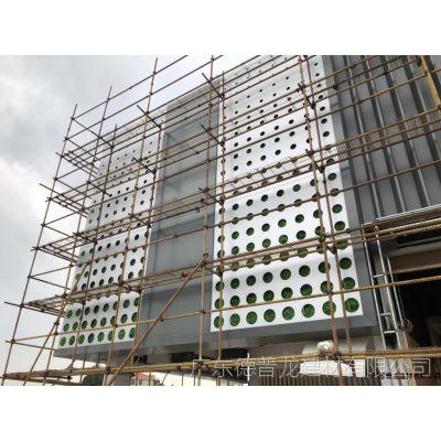 广汽传祺新能源汽车店门头冲穿孔铝板搭配铝通格栅立面按图纸装饰效果