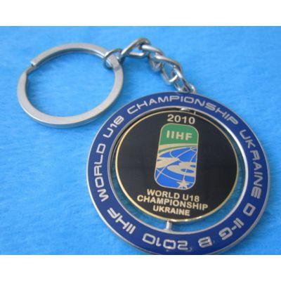 印刷旋转钥匙扣,镀银钥匙挂件制作,天津广告促销钥匙扣