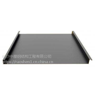 湖南0.7厚25-430型灰色钛锌板合金直立锁边屋面板|立边咬合屋面板