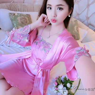 高贵真丝性感夏季睡衣吊带睡裙女夏大码紫色春秋丝绸睡袍两件套装
