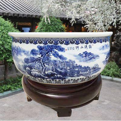 景德镇陶瓷大号青花瓷水缸洗浴缸温泉泡澡大缸养鱼缸风水镇宅缸