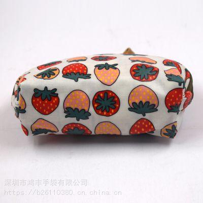 甜美花朵印花化妆包 防水耐磨半圆立体拉链收纳包 帆布礼品化妆袋