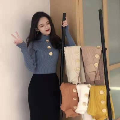 长袖针织衫女2018秋装款复古优雅V领纯色紧身薄羊毛衫CHIC上衣