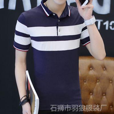 2018夏天男式短袖t恤翻领拼色体恤衫简约韩版修身潮男上衣休闲装