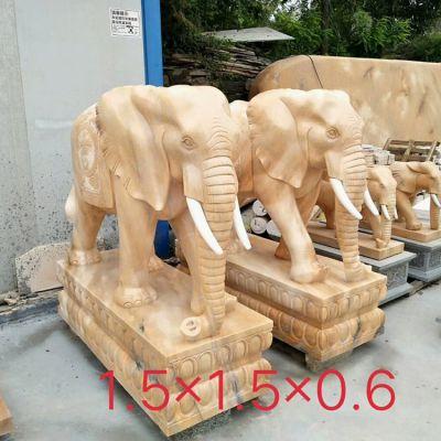 供应1.5米石雕大象 晚霞红汉白玉招财大象一对 现货销售