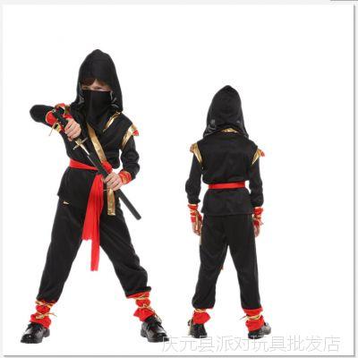 万圣节表演服黑金忍者服火隐忍者服装B-0125儿童日本武士服饰